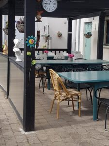Outdoor eating area in Nethercross Day Care for the elderly