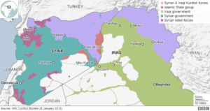 Map of Syria and Iraq showing which groups control each area