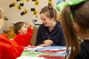 David Bjelicic preschool child with Preschool Leader Kate Mcgrath